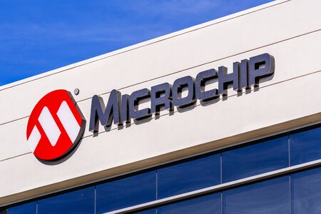 Jan 24, 2020 Sunnyvale / CA / USA - Microchip sign at their HQ in Silicon Valley; Microchip Technology Inc. manufactures microcontrollers, mixed-signal, analog and Flash-IP integrated circuits Editorial