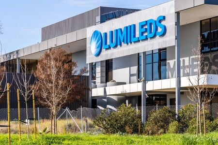 Jan 31, 2020 San Jose / CA / USA - Lumileds headquarters in Silicon Valley; Lumileds is a lighting company that develops, manufactures, and distributes LEDs, light bulbs, and other related products