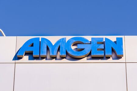 Feb 2, 2020 South San Francisco / CA / USA - Amgen sign at their headquarters in Silicon Valley; Amgen Inc. is an American multinational biopharmaceutical company