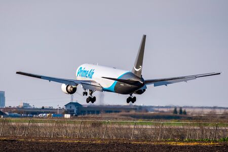Feb 17, 2020 Stockton / CA / USA - Amazon Air aircraft about to land; Amazon Air, formerly known as Amazon Prime Air, is a cargo airline operating exclusively to transport Amazon packages