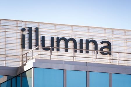 Feb 19, 2020 Foster City  CA  USA - Close up of Illumina logo at their headquarters in Silicon Valley; Illumina, Inc. is an American biotechnology company