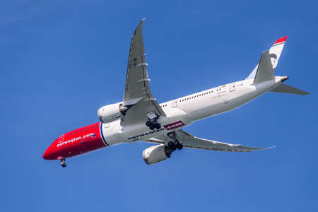 Feb 19, 2020 San Francisco / CA / USA - Norwegian Air aircraft preparing for landing at SFO; Norwegian Air Shuttle ASA is a Norwegian low-cost airline and Norway's largest airline