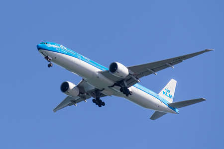 Feb 19, 2020 San Francisco / CA / USA - KLM aircraft preparing for landing; KLM Royal Dutch Airlines, legally Koninklijke Luchtvaart Maatschappij N.V.  is the flag carrier airline of the Netherlands Editorial