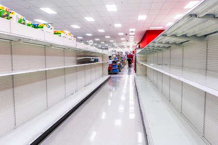 Mar 11, 2020 Santa Clara / CA / USA - Supermarket shelves cleared out of all toilet paper products amid coronavirus (Covid-19) fears which has led to shoppers panic buying and stockpiling toilet paper Editorial