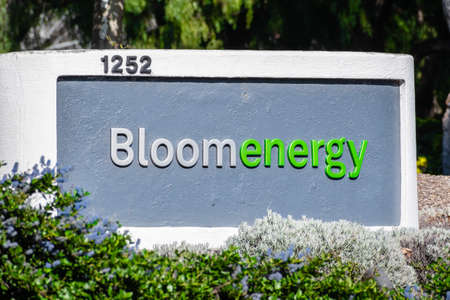 Mar 30, 2020 Sunnyvale / CA / USA - Bloom Energy logo at one of their facilities in Silicon Valley; Bloom Energy Corp manufactures and markets solid oxide fuel cells that produce electricity on-site