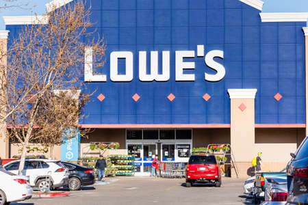 Mar 30, 2020 Sunnyvale / CA / USA - People shopping at Lowe's in South San Francisco bay area; Lowe's remains open during the Shelter in Place Order