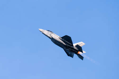 Oct 12, 2019 San Francisco / CA / USA - Close up of F-35 Fighter Jet flying at the 39th Fleet Week air show; The F-35 Lightning II was developed by Lockheed Martin