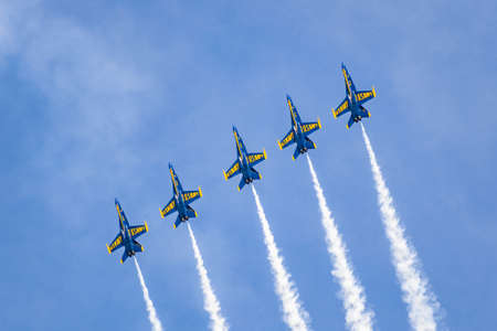 Oct 12, 2019 San Francisco / CA / USA - The Blue Angels flying in formation for Fleet Week airshow; The Blue Angels is the United States Navy's flight demonstration squadron