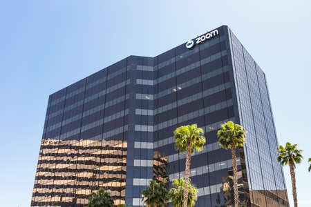 May 6, 2020 San Jose / CA / USA - Zoom headquarters in Silicon Valley; Zoom Video Communications is a company that provides remote conferencing services using cloud computing Editorial