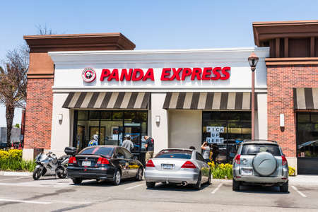 May 6, 2020 San Jose / CA / USA - Panda Express location open for take out during the COVID-19 outbreak; Panda Express is a fast food restaurant chain which serves American Chinese cuisine