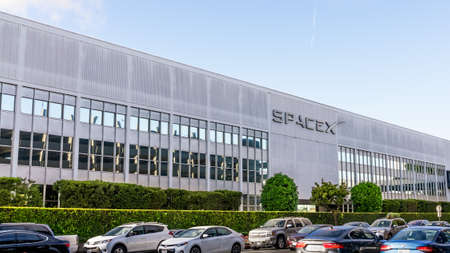 Dec 8, 2019 Hawthorne / Los Angeles / CA / USA - SpaceX (Space Exploration Technologies Corp.) headquarters; SpaceX is a private American aerospace manufacturer
