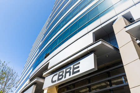 May 6, 2020 San Jose / CA / USA - CBRE headquarters in Silicon Valley; CBRE Group, Inc. is an American commercial real estate services and investment firm Editorial