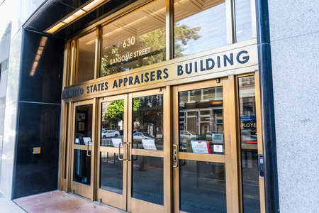 Nov 17, 2019 San Francisco / CA / USA - United States Appraisers building entrance in the Financial District; The building is housing several federal agencies such as USCIS, ICE and USDA