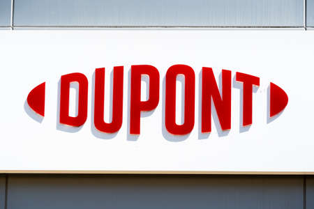 May 10, 2020 Sunnyvale / CA / USA - DuPont logo displayed at their Silicon Valley Technology & Innovation Center; DuPont de Nemours, Inc is an American company operating in the chemicals industry;