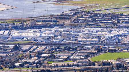 Jan 14, 2017 Fremont / CA / USA - Aerial view of Tesla Factory situated in Silicon Valley, East San Francisco bay area, California Editorial