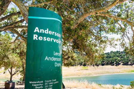 Anderson Reservoir signage posted on its shoreline, at a picnic area; Anderson Reservoir is a man made lake in Morgan Hill, managed by the Santa Clara Valley Water District; California