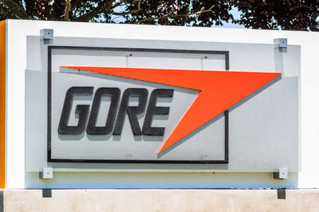 May 20, 2020 Santa Clara / CA / USA - Gore sign at their headquarters in Silicon Valley; W. L. Gore & Associates is an American manufacturing company best known as the developer of Gore-Tex fabrics