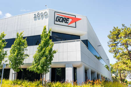 May 20, 2020 Santa Clara / CA / USA - Gore headquarters in Silicon Valley; W. L. Gore & Associates is an American multinational manufacturing company best known as the developer of Gore-Tex fabrics