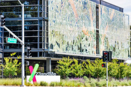 June 10, 2020 Sunnyvale / CA / USA - The new 23andme headquarters in Silicon Valley; Based on a saliva sample, 23andMe provides reports about the customer's health, traits and ancestry