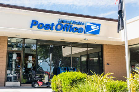 June 10, 2020 Sunnyvale / CA / USA - United States Post Office (USPS) location; The USPS is an independent agency of the executive branch of the US federal government