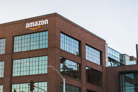 July 3, 2020 East Palo Alto / CA / USA - Amazon office building situated in Silicon Valley, San Francisco bay area