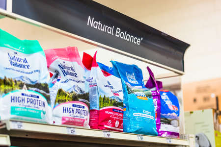 February 13, 2019 Sunnyvale / CA / USA - Dick Van Patten's Natural Balance Pet Foods display in a pet store; Natural Balance is a subsidiary of The J.M. Smucker Company