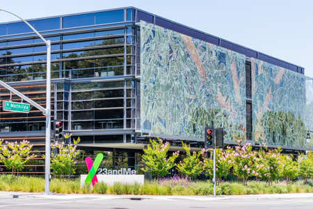 July 9, 2020 Sunnyvale / CA / USA - The new 23andme headquarters in Silicon Valley; Based on a saliva sample, 23andMe provides reports about the customer's health, traits and ancestry