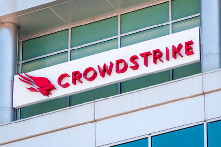 July 8, 2020 Sunnyvale / CA / USA - Close up of Crowdstrike logo at their headquarters in Silicon Valley; CrowdStrike Holdings, Inc. is a cyber-security technology company