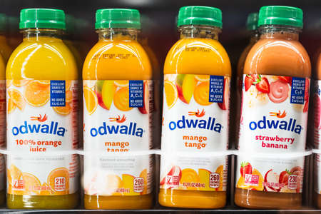 July 10, 2020 Santa Clara / CA / USA - Odwalla juice bottles displayed in a supermarket refrigerator; In July 2020, Coca-Cola announced the discontinuing of its Odwalla operations and brand