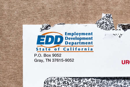 July 9, 2020 Sunnyvale / CA / USA - Close up of California Employment Development Department (EDD) logo printed on a letter 新闻类图片