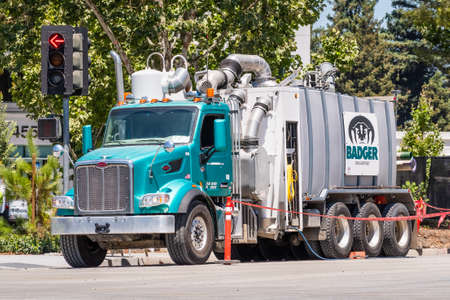 July 22, 2020 Sunnyvale / CA / USA - Badger Daylighting vehicle at a construction site. Badger Daylighting Ltd is a public Canadian environmental services company, specializing in soil excavation