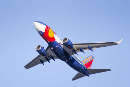 July 22, 2020 San Jose / CA / USA - Colorado One Southwest Airlines taking off from San Jose International Airport (SJC); Colorado One livery is honoring and was modeled after the Colorado state flag