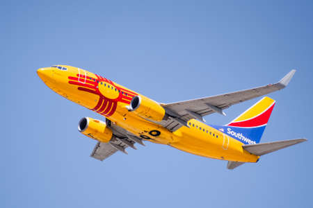 July 23, 2020 San Jose / CA / USA - New Mexico One Southwest Airlines taking off from San Jose International Airport (SJC); New Mexico One is honoring and was modeled after the New Mexico state flag