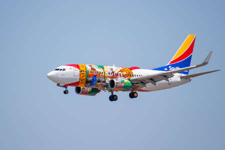 July 25, 2020 San Jose / CA / USA - Florida One Southwest Airlines landing at San Jose International Airport (SJC); Florida One livery is honoring and was modeled after the Florida state flag
