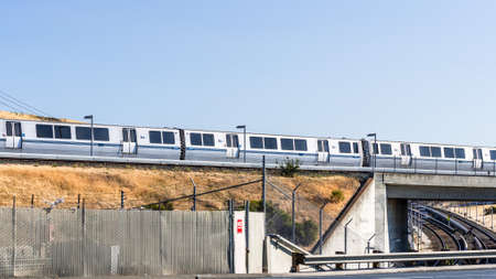 July 25, 2020 Concord / CA / USA - BART train stopped on tracks at a depot, East San Francisco bay area