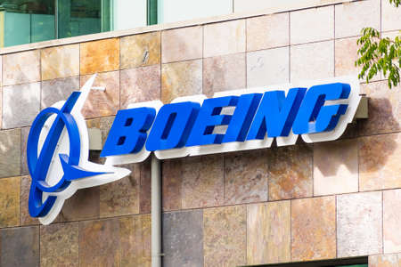 July 30, 2020 Menlo Park / CA / USA - Boeing sign at their office building housing the subsidiary Aurora Flight Sciences, which develops special-purpose Unmanned aerial vehicles; Silicon Valley