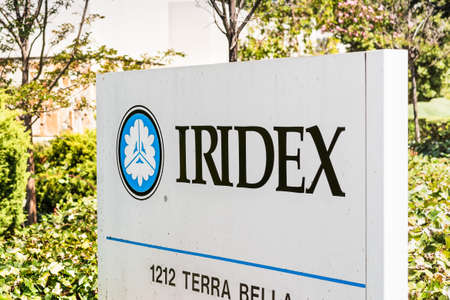 August 3, 2020 Mountain View / CA / USA - IRIDEX sign at their headquarters in Silicon Valley; IRIDEX Corporation provides semiconductor-based laser systems used to treat eye disease and skin lesions 新闻类图片
