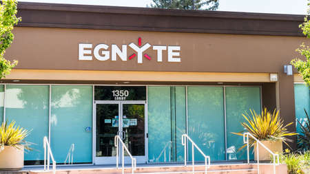 August 3, 2020 Mountain View / CA / USA - Egnyte headquarters in Silicon Valley; Egnyte is a software company that provides a cloud platform for enterprise file synchronization and sharing
