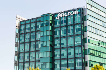 August 1, 2020 San Jose / CA / USA - Micron headquarters in Silicon Valley; Micron Technology, Inc. is an American producer of computer memory and computer data storage