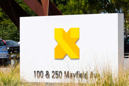 July 7, 2020 Mountain View / CA / USA - X sign displayed at the X Development LLC (formerly Google X) headquarters in Silicon Valley; X Development develops various projects, such as Waymo and Loon