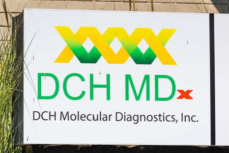 August 3, 2020 Mountain View / CA / USA - DCH Molecular Diagnostics logo at their Silicon Valley HQ; DCH MDx develops assays for automated, integrated, sample-in/result-out, point of care instruments