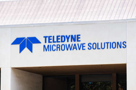 August 3, 2020 Mountain View / CA / USA - Close up of Teledyne Microwave Solutions (a member of Teledyne Technologies group) sign at their headquarters in Silicon Valley;