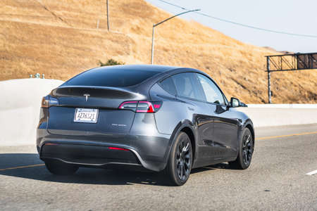 July 26, 2020 Fremont / CA / USA - Tesla Model Y travelling on the freeway in Silicon Valley; East San Francisco bay area