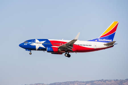 August 7, 2020 San Jose / CA / USA - Lone Star One Southwest Airlines landing at San Jose International Airport (SJC); Lone Star One livery is honoring and was modeled after the Texas state flag