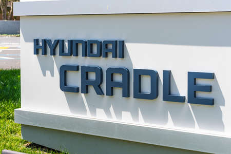August 3, 2020 Mountain View / CA / USA - Hyundai CRADLE sign at their headquarters in Silicon Valley; Hyundai CRADLE is a venture capital investment firm, owned by Hyundai Motor Group