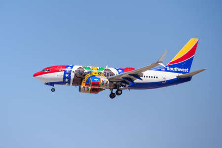 August 11, 2020 San Jose / CA / USA - Missouri One Southwest Airlines landing at San Jose International Airport (SJC); the Missouri One is honoring and was modeled after the Missouri state flag