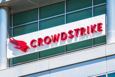 August 11, 2020 Sunnyvale / CA / USA - Close up of Crowdstrike logo at their headquarters in Silicon Valley; CrowdStrike Holdings, Inc. is a cyber-security technology company