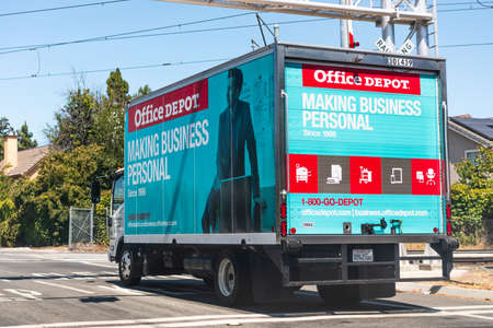 August 3, 2020 Mountain View / CA / USA - Office Depot truck making deliveries in San Francisco bay area; Office Depot, Inc. is an American office supply retailing company