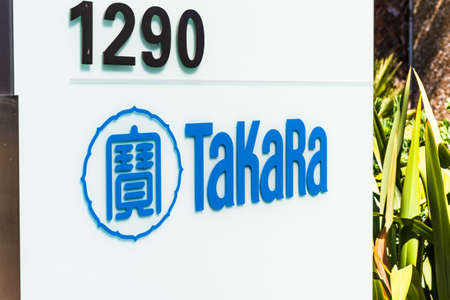Aug 3, 2020 Mountain View / CA / USA - Takara sign at their Silicon Valley offices; Takara Bio USA, part of the Japanese group Takara Holdings, is a manufacturer of equipment for biological research