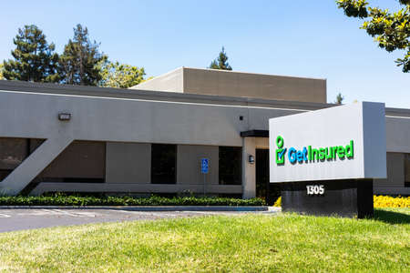 August 3, 2020 Mountain View / CA / USA - GetInsured headquarters in Silicon Valley; GetInsured is a comparison-shopping portal for healthcare products and services